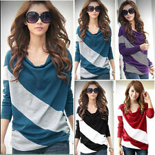New Womens Batwing Stripe Top Loose Casual Long Sleeve T-Shirt Blouse 4 Size