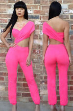 NEW Ladies Womens Plunge Neck Shorts Celeb Dress Playsuit Jumpsuit Pink Trouser