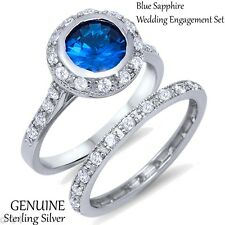Royal Round Blue Sapphire Engagement / Wedding Genuine Sterling Silver Ring Set