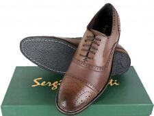 Sergio Duletti Real Italian Leather Brogues Dress Shoes Pointed Toe Light Brown