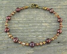 Petite to Plus Size Copper Anklet / Bracelet in Copper Pearls, Glass and Crystal