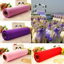 New 8M X 48CM Crystal Organza Sheer Roll Fabric Pearlised Wedding Gift Party