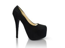 WOMEN'S SUEDE CONCEALED PLATFORM LADIES STILETTO HIGH HEEL COURT SHOES FP-8812