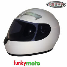 3GO VIPER E35 HELMET WHITE FULL FACE MOTORCYCLE SCOOTER VISOR PACK AVAIL CHEAP