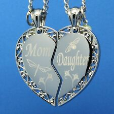 Luxury Split Heart Pendant Mother Daughter w/charm -  FREE ENGRAVING OF MESSAGE