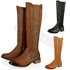 WOMENS LADIES NEW LONG KNEE HIGH FLAT RIDING WINTER ZIP GUSSET BOOTS SHOES SIZES