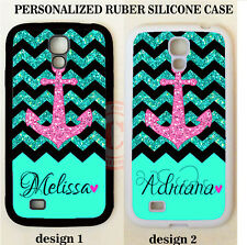 CUSTOM TEAL BLACK CHEVRON PINK ANCHOR MONOGRAM CASE For Samsung Galaxy S5 S4 S3