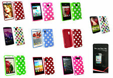 Polka Dots Silicone Gel Case Cover Skin for various LG Models + Screen Protector