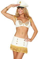 Ladies Sailor Captain Uniform Sparkle Bling Navy Costume Pin Up Fancy Dress