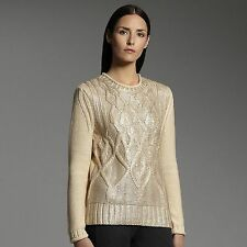 new NARCISO RODRIGUEZ for DESIGNATION Womens Gold Ivory Foil SWEATER Cable Knit