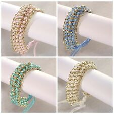 Chain & Cord Adjustable Bracelet - with 10 Rhinestones - Assorted Colors -U01
