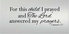FOR THIS CHILD I PRAYED 1 SAMUEL 1:27 VINYL DECAL WALL LETTERS QUOTE