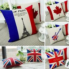 New Soft Personalised Eiffel Tower UK British Flag Tapestry Pillow Cushion Cover