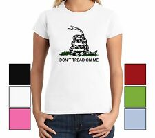 Don't Tread on Me Gadsden flag Ladies T Shirt Tea Party Political Gun Rights Tee