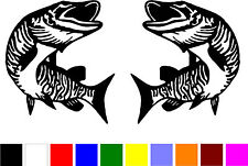 2 MUSKIE MUSKY fish fishing truck boat RIGHT & LEFT vinyl decals stickers V-270