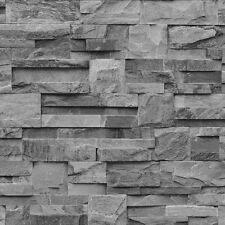 LUXURY MURIVA SLATE STONE BRICK WALL EFFECT TEXTURED VINYLWALLPAPER ROLL J27409