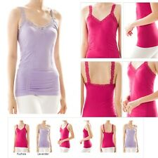 Camisole Stretch Wrinkled Sexy Seamless Basic Lace Trim Ruched Tank Top ONE SIZE