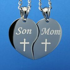 PERSONALIZED SPLIT HEART - Mom and Son Cross design  Free engraving included