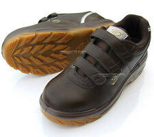 Men Brown Chef Shoes Velcro Safety Work Shoes Steel Toe Cap work Non-Slip