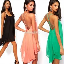 Strap Backless chiffon Low-cut Cocktail Party Slim donne sexy swing Vestitino