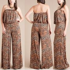 PLUS SZ ANIMAL BROWN LEOPARD STRAPLESS WIDE LEG PALAZZO PANT SUIT DRESS JUMPSUIT