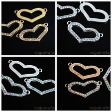2/10pcs Crystal Rhinestone Heart Charms Bracelet Finding Spacer Connectors 34mm