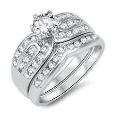 Brilliant Cut Engagement Wedding Round Layered CZ Silver Ring Set Size 3 - 12