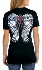 Womens Goth Fallen Angel Chained Wings T-Shirt Hanes V Neck Ladies Cross Tee