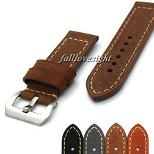 New 20 22 24 26 MM Genuine Leather Watch Strap Bands Mens Stainless Steel Buckle