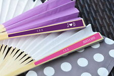 48 Personalized Monogram Paper Wedding Fans Party Favors