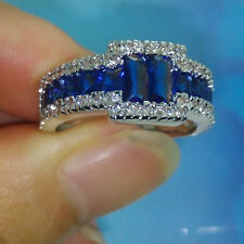 Size 9/10/11 Brand Jewelry 10kt white gold filled Blue Sapphire Men Wedding Ring