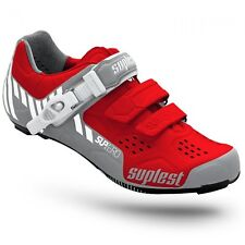 Suplest Street Racing Nylon Buckle Cycling Shoes - Red/White