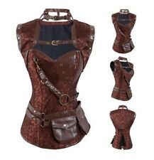 Brown Faux Leather trimed vintage steampunk Corset Shawl&Belt Size S - USA stock