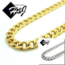 "18-40""MEN's Stainless Steel 6mm Gold/Silver Cuban Curb Link Chain Necklace"