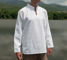 Mens Kurta Style Shirts - V Neck - Mandarin/Grandad Collar 100% Cotton - Ribbed