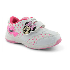 MINNIE MOUSE  DISNEY GIRLS WHITE PINK TRAINERS  NEW SIZES 10 11 12 13 1 2  2.5