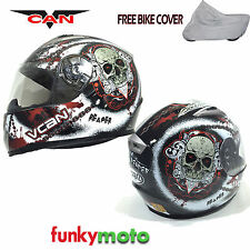 VCAN V158 FULL FACE HELMET ECE ACU APPROVED MOTORBIKE SCOOTER REAPER BLACK RED