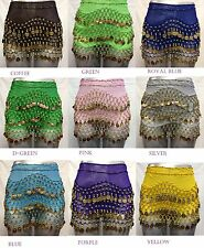 158 Gold Coins 3 Rows Belly Dance Hip Scarf Skirt Wrap