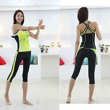Women Fitness Yoga gym pants sports top workout clothes Black M triplex Medium i