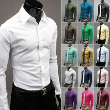 Mens Luxury Stylish Business Casual Dress Slim Fit T-Shirts Casual Long Sleeve