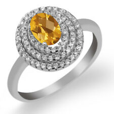 1.70 Ct Oval Checkerboard Yellow Citrine 925 Sterling Silver Ring