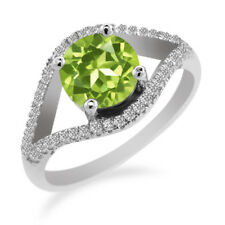 2.50 Ct Round Green Peridot 925 Sterling Silver Ring