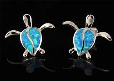 INLAY OPAL STERLING SILVER 925 HAWAIIAN HONU TURTLE STUD HOOK EARRINGS 17MM