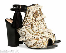 H&M Conscious Exclusive Beige Embroidered Leather Sandals Shoes UK 6 US 8 EU 39