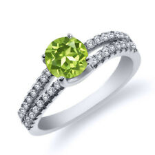 0.98 Ct Round Green Peridot 925 Sterling Silver Ring