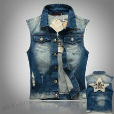 Spring Summer Fashion Fade Torn Embroidery Jeans Vest Slim Men's Denim Waistcoat