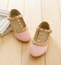 Kids Girls Sandals Buckle Princess Rivet T-strap Flats Pointed Toe Shoes TX03