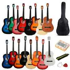 "New 38"" Different Color Beginner Acoustic Guitar w/ Case String Strap Pick Tuner"