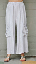 ET'LOIS USA  Linen BEBE  PANT Wide-Leg  w/ Deep Pocket Details  S M L XL  PEBBLE