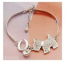 Delicate Silver With Rhinestone Snow Ruina Cute Puppy And Lovely Dog Bracelets